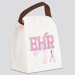 EHR initials, Pink Ribbon, Canvas Lunch Bag