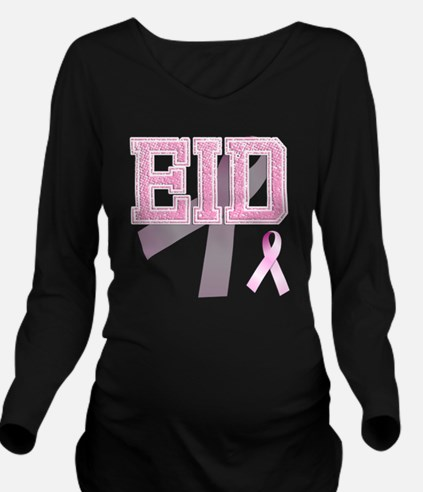 EID initials, Pink R Long Sleeve Maternity T-Shirt