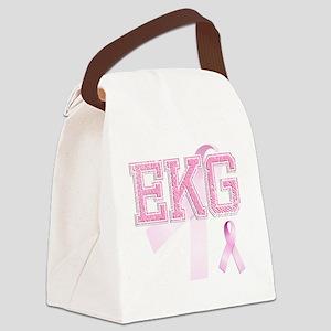 EKG initials, Pink Ribbon, Canvas Lunch Bag