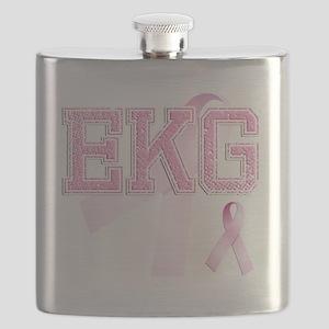 EKG initials, Pink Ribbon, Flask