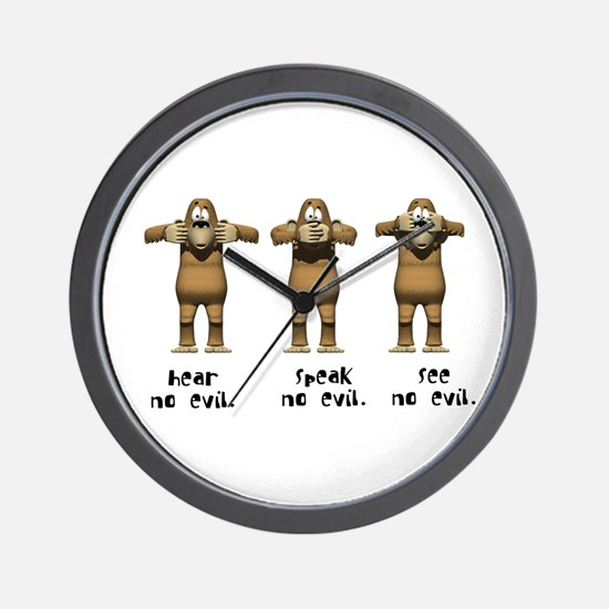 Hear No Evil Monkeys Wall Clock