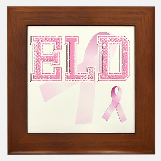 ELD initials, Pink Ribbon, Framed Tile