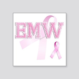 "EMW initials, Pink Ribbon, Square Sticker 3"" x 3"""