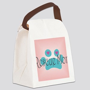 Rescue Mom with hearts and backgr Canvas Lunch Bag
