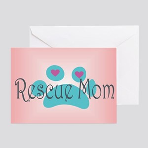 Aspca greeting cards cafepress rescue mom with hearts and backgroun greeting card m4hsunfo
