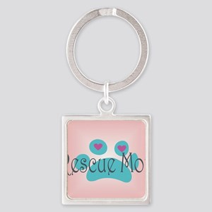 Rescue Mom with hearts and backgro Square Keychain