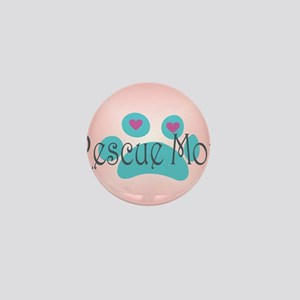 Rescue Mom with hearts and background Mini Button