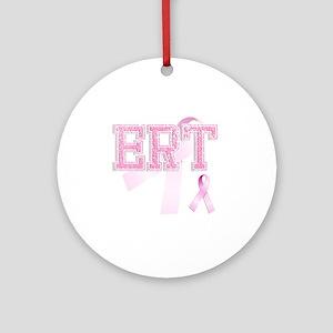 ERT initials, Pink Ribbon, Round Ornament
