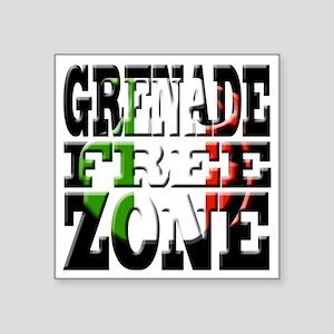 "Grenade Free Zone Jersey Sh Square Sticker 3"" x 3"""