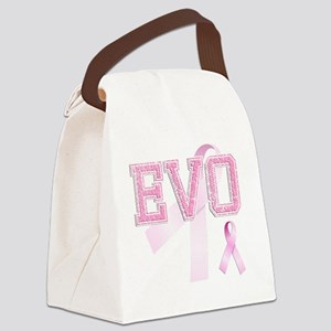 EVO initials, Pink Ribbon, Canvas Lunch Bag