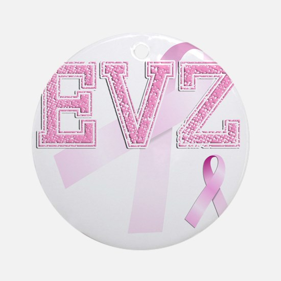 EVZ initials, Pink Ribbon, Round Ornament