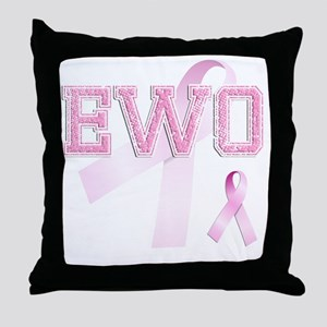 EWO initials, Pink Ribbon, Throw Pillow