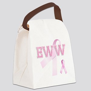 EWW initials, Pink Ribbon, Canvas Lunch Bag