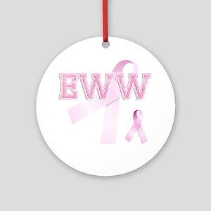 EWW initials, Pink Ribbon, Round Ornament