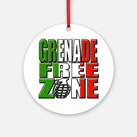 Grenade Free Zone Jersey Shore Round Ornament