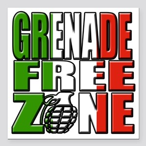 """Grenade Free Zone Jersey Square Car Magnet 3"""" x 3"""""""