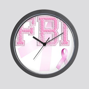 FBI initials, Pink Ribbon, Wall Clock