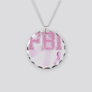 FBI initials, Pink Ribbon, Necklace Circle Charm