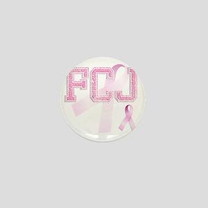 FCJ initials, Pink Ribbon, Mini Button
