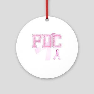 FDC initials, Pink Ribbon, Round Ornament