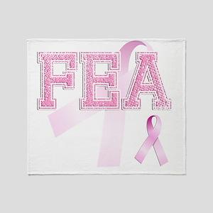 FEA initials, Pink Ribbon, Throw Blanket