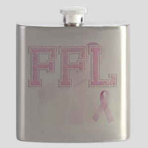 FFL initials, Pink Ribbon, Flask