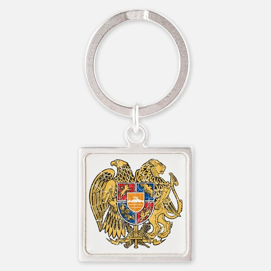 Armenia Coat of Arms cracle Square Keychain