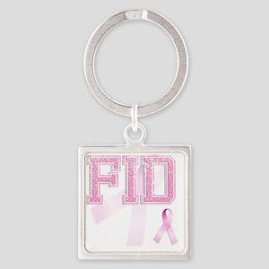 FID initials, Pink Ribbon, Square Keychain