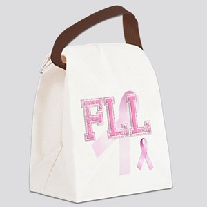 FLL initials, Pink Ribbon, Canvas Lunch Bag