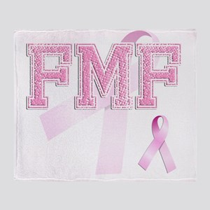 FMF initials, Pink Ribbon, Throw Blanket