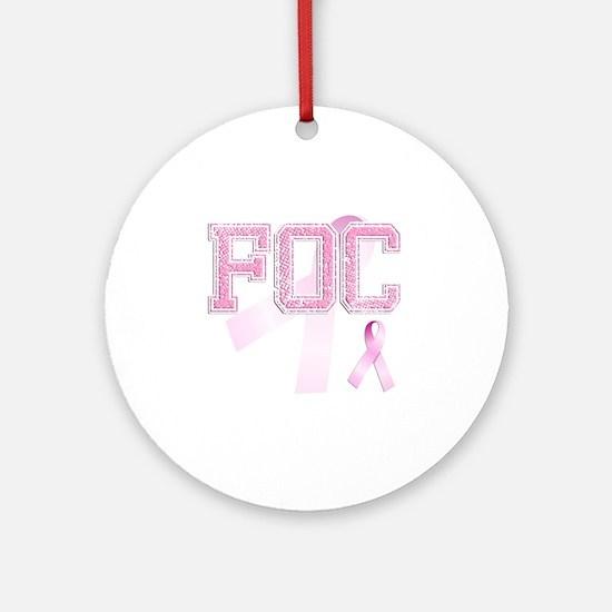 FOC initials, Pink Ribbon, Round Ornament