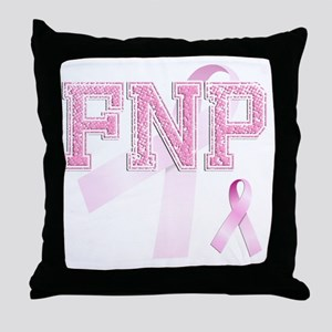 FNP initials, Pink Ribbon, Throw Pillow
