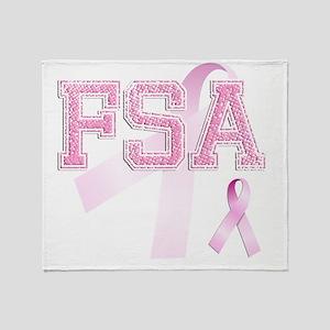 FSA initials, Pink Ribbon, Throw Blanket