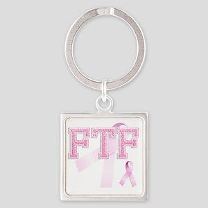 FTF initials, Pink Ribbon, Square Keychain