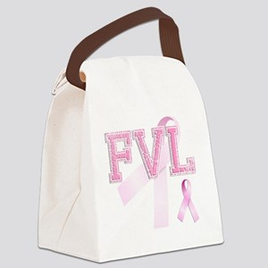 FVL initials, Pink Ribbon, Canvas Lunch Bag