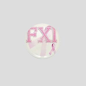 FXI initials, Pink Ribbon, Mini Button