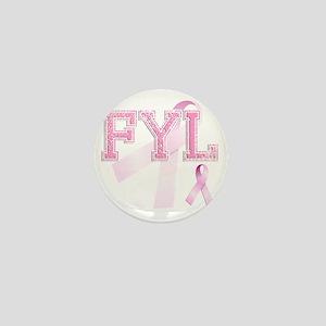FYL initials, Pink Ribbon, Mini Button