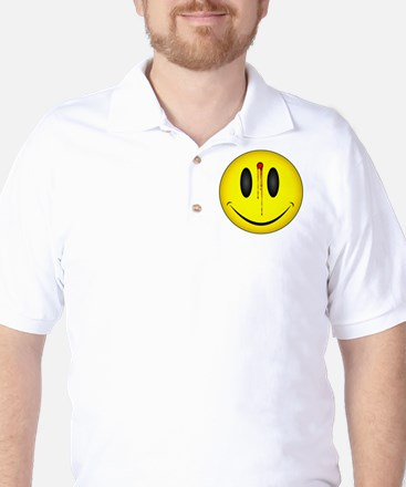 Bleeding Smiley Face Golf Shirt