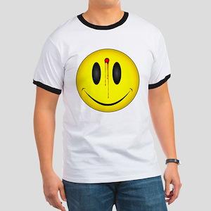 Bleeding Smiley Face Ringer T