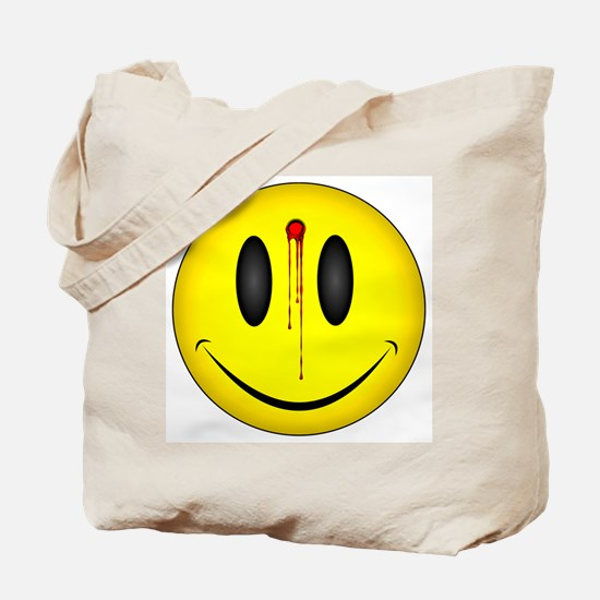 Bleeding Smiley Face Tote Bag