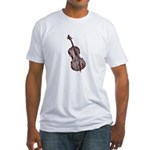 Woodcut Brown Bass Fitted T-Shirt