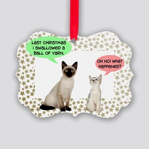 Christmas Cat Yarn Picture Ornament