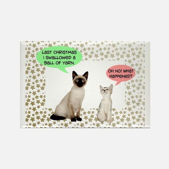 Christmas Cat Yarn Rectangle Magnet