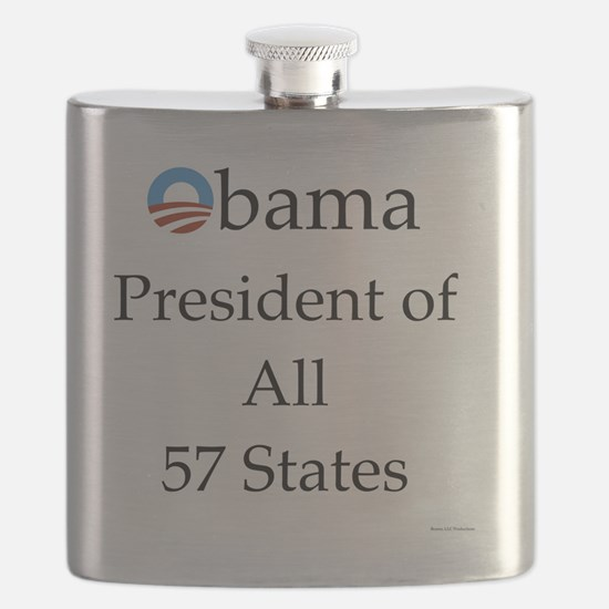 Obama President of All 57 States 10x10 Flask