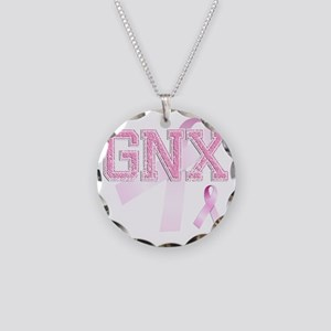 GNX initials, Pink Ribbon, Necklace Circle Charm