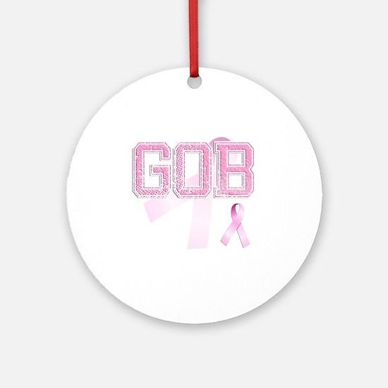 GOB initials, Pink Ribbon, Round Ornament