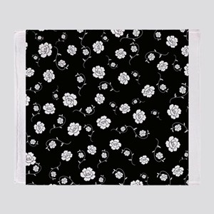 White Flowers on Black Throw Blanket