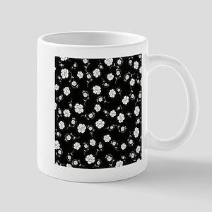 White Flowers on Black Mugs