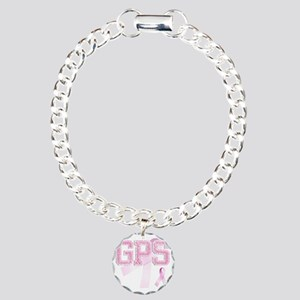 GPS initials, Pink Ribbo Charm Bracelet, One Charm
