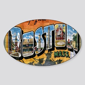 Greetings from Boston Sticker (Oval)